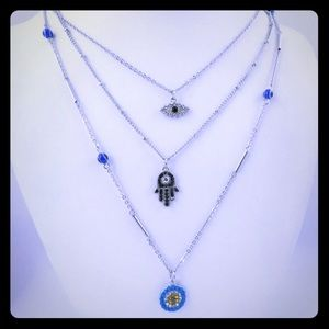 Guess 3 rows necklace evil eye dainty